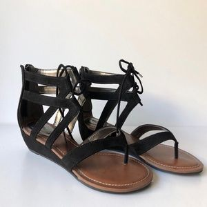 Black Suede Wedge Sandal Size 8.5